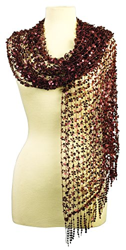 Beaded Knit Shawl (Sequin Scarf - Dressy Brown Open Weave Scarf, Oversize Shawl Wrap with Fringe)