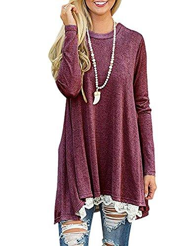 (Andaa Women's Crew Neck Long Sleeve Lace Splicing Swing Shirt Dresses Long Tunic Blouses Shirts for Leggings (XL, Wine))