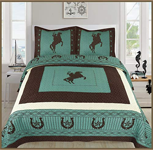 Sapphire Home 3 Piece King Size Quilt Bedspread Set w/2 Pillow Shams, Western Design Collection, Wild Horse Country/Horseshoe/Star/Cowboy Design, King Western Turquoise ()