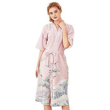 Forall-Ms Vestido De Seda Largo De Seda del Traje De La Bata del Kimono