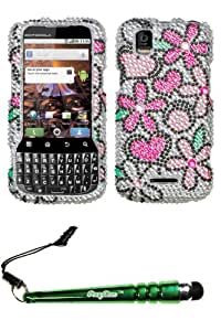 FoxyCase(TM) FREE stylus AND MOTOROLA MB612 (XPRT) Fantastic Flowers Full Diamond Bling Protector Cover cas couverture