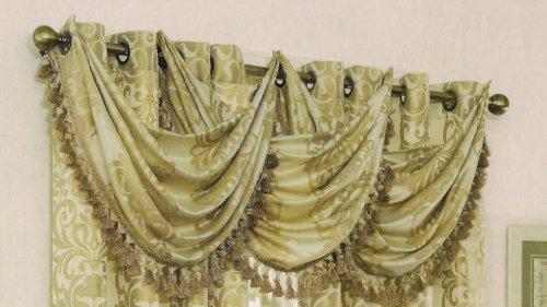 Verano Waterfall Valance w/ Decorative Trim 24″ (Beige) For Sale