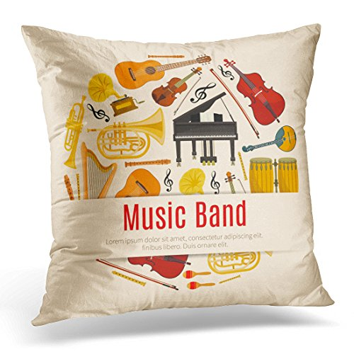 Golee Throw Pillow Cover Music Band of Musical Instruments Orchestra Harp Contrabass Violin with Bow and Piano Saxophone and Maracas Decorative Pillow Case Home Decor Square 18x18 Inches Pillowcase