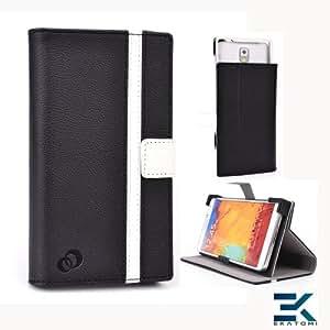 Alcatel OneTouch Hero Case | Universal Book Folio Phone Cover with Stand - BLACK & WHITE. Bonus Ekatomi Screen Cleaner*