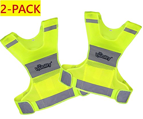 Mr Visibility Reflective Vest for Running or Cycling (2 Pack) Small Size | Reflector Jackets with Pockets | High Visibility Safety Clothing for Bike, Walking, Runners | Security Gear for Women, Men