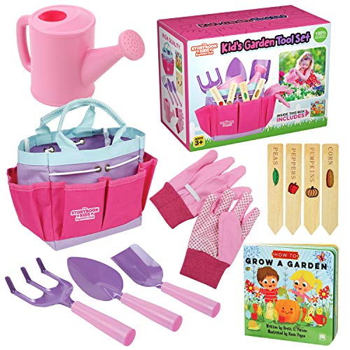 Kids Gardening Tools - Includes Sturdy Tote Bag, Watering Can, Gloves, Shovels, Garden Stakes, and a Delightful Children