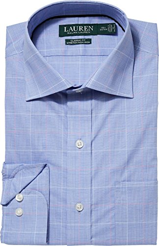 Lauren Ralph Lauren Men's Classic Fit No-Iron Cotton Dress Shirt Cerulean Blue/Coral Multi ()