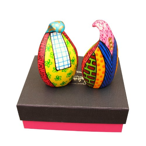 Hand Painted Bone China Salt and Pepper Set - Commotion, luxuriously Gift Boxed