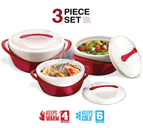 Pinnacle Casserole Dish - Large Soup and Salad Bowl Set - Insulated Serving Bowl With Lid - 3 Pc. Set Red