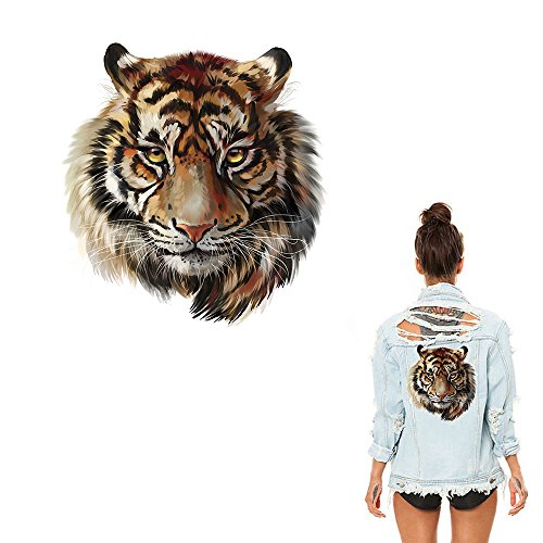 Tiger Patches for Clothes,Tiger Printing Heat Transfer Sticker Patch for Household Irons DIY Decor Hotfix Decal Motif Appliqued for T-shirt Jeans Coats Totes Hoodie