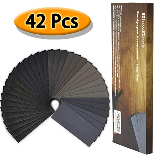 GlowGeek 120 to 3000 Grit Sandpaper Assortment, Dry/Wet, 9 x 3.6 Inch, 42 Pieces,Sand Paper for Automotive Sanding, Wood Furniture Finishing, Wood Turing Finishing