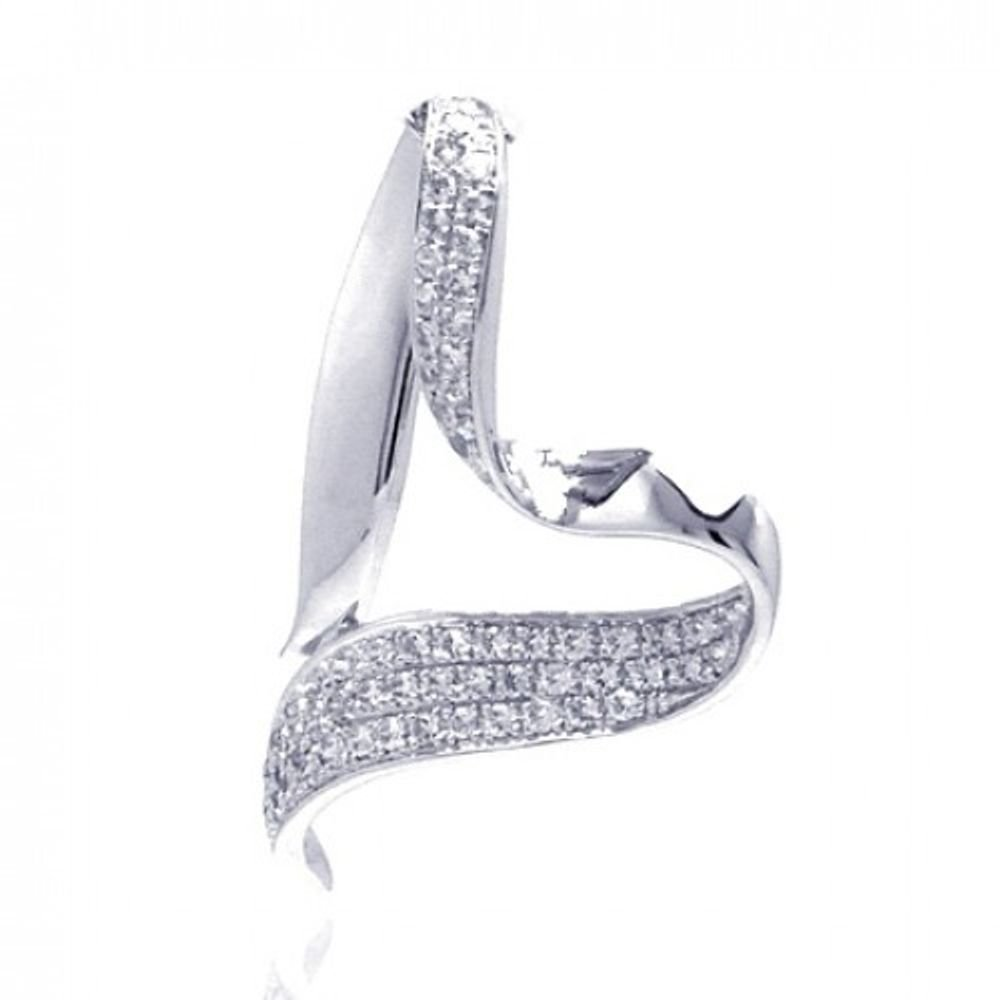 CloseoutWarehouse Cubic Zirconia Open Twisted Heart Dangling Pendant Rhodium Plated Sterling Silver