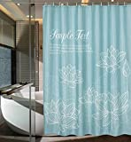 ufengke Shower Curtain Lotus Flower with 12 Hooks Turquoise Fabric Curtain Polyester Waterproof for Bathroom,72' X 72'