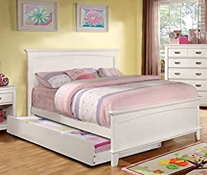 colin transitional white full size bed w trundle - Full Size White Bed Frame