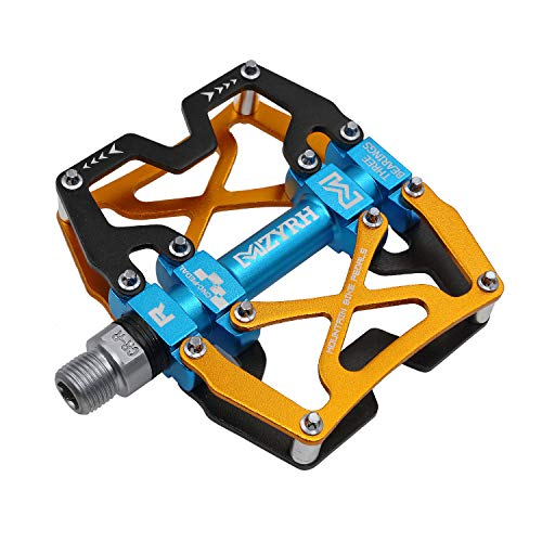 "Mzyrh Mountain Bike Pedals, Ultra Strong Colorful CNC Machined 9/16"" Cycling Sealed 3 Bearing Pedals (Black Blue Yellow)"