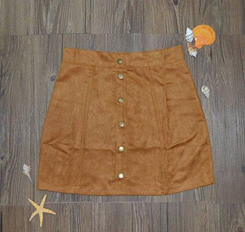 COMVIP Women's Solid Autumn Button Closure A-line Mini Short Skirts Khaki M by COMVIP (Image #3)