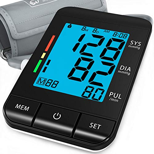 "Blood Pressure Monitor Upper Arm (Smart Pressurized Tech), with 9-17"" Extra Large Cuff, Automatic Clinical Accurate BP Machine, 2 Users 180 Memory with Date & Time, Irregular Heart Rate Indication"