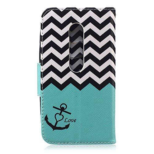 Funda para Huawei P8 Lite, Flip funda de cuero PU para Huawei P8 Lite, Huawei P8 Lite Leather Wallet Case Cover Skin Shell Carcasa Funda, Ukayfe Cubierta de la caja Funda protectora de cuero caso del  Wave Ancho