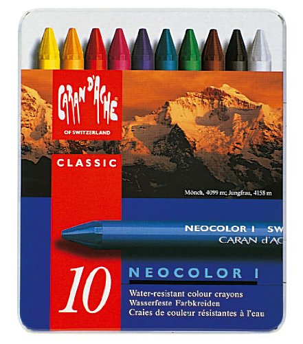 Neocolor I Water-Resistant Wax Pastels, 10 colors by Caran d'Ache