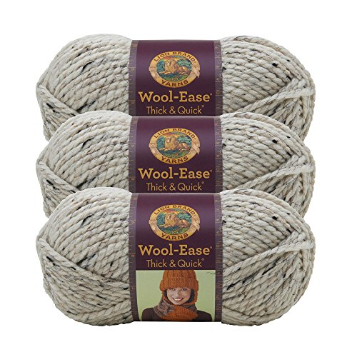 (3 Pack) Lion Brand Yarn 640-123E Wool-Ease Thick and Quick Yarn, 97 Meters, Oatmeal
