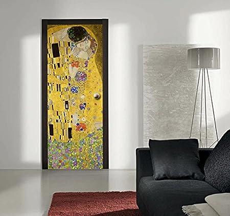 70 x 200 cm Adesivo per Porta Klimt Il Bacio AntiGraffio e antiriflesso Decorazione Adesiva per Porte Top Quality