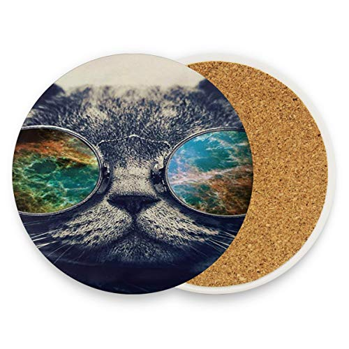 - Cashmere Cat Sunglasses Coasters, Protection for Granite, Glass, Soapstone, Sandstone, Marble, Stone Table - Perfect Cork Coasters,Round Cup Mat Pad for Home, Kitchen or Bar 1 piece