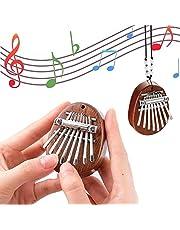 Mini Thumb Piano,8 Key Mini Kalimba Exquisite Wooden Portable Finger Thumb Piano Marimba Musical Good Accessory Pendant Gift (Water droplets)