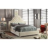 Meridian Furniture MadisonCream-K Madison Velvet Upholstered Bed with Button Tufted Headboard, Chrome Nailhead Trim, and Custom Chrome Legs, King, Cream