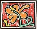 キース・ヘリング 「フラワー・5」 絵画 シルクスクリーン 版画 ポップアート 額付き