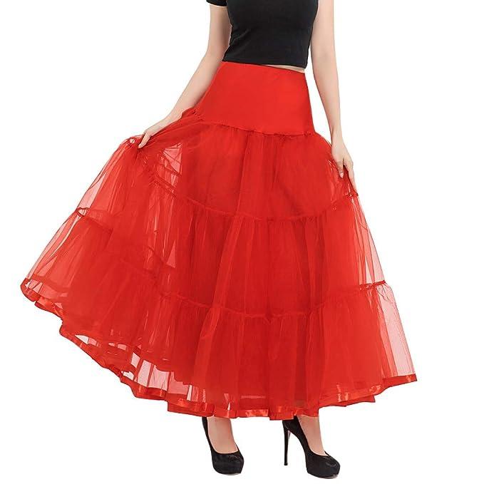 1bbc84675 Falda Larga De Tul Fiesta De Tutú para Mujer Plisadas Faldas Cintura ...