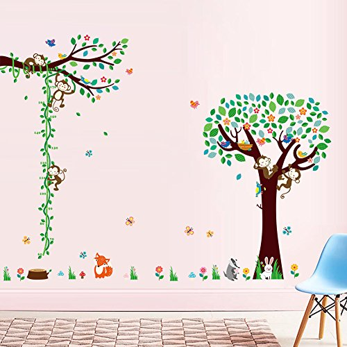 Woodland-Arts-3ft-x-5ft-Cute-Monkey-Climbing-Trees-Growth-Chart-Height-Measurements-Baby-Vinyl-Wall-Decals-Wall-Stickers-Kids-Removable-Decals-for-Kids-Rooms-Nursery