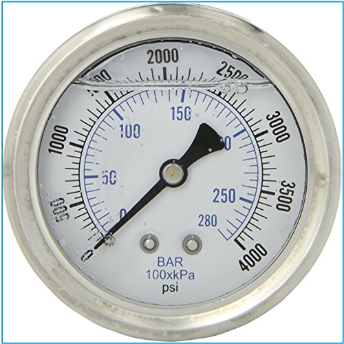LIQUID FILLED PRESSURE GAUGE, 2.5' DIAL DISPLAY, STAINLESS STEEL CASE, BRASS INTERNALS, 1/4 MALE NPT BACK MOUNT CONNECTION, DUAL SCALE PSI & BAR (0-4,000 PSI)