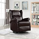 Reclining Swivel Accent Chair for Living Room, Faux Leather Arm...