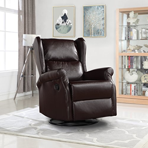 Reclining Swivel Accent Chair for Living Room, Faux Leather Arm Chair (Brown)