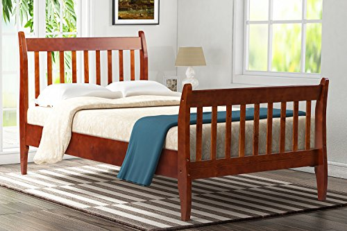 Lyland Platform Bed Twin Bed Frame Wood with Headboard and Slat Support for Bedroom -