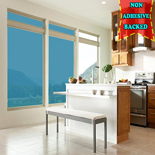 Adhesive-free Static Cling No Glue Privacy and Solar Control Window Glass Film, Sun Blocker, 19.7 Inches by 78.7 Inches (50 x 200cm) per Roll, - Seeing Blue Tint