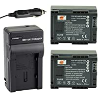 DSTE 2x BP-808 Battery + DC26 Travel and Car Charger Adapter for Canon FS406 HFM400 HF100 M300 S100 S200 FS36 FS37 HF200 HFS11 HF100 HF20 HG21 Camera as BP-809 BP-819 BP-827