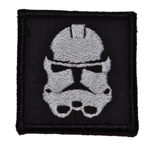 Stormtrooper Patch 2x2 inch White Thread on Black -