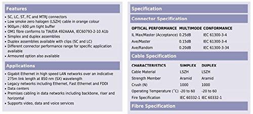 CAVO FIBRA OTTICA PATCH CORD SC SC MULTIMODE DUPLEX ORANGE 62,5//125 OM1 MT.1