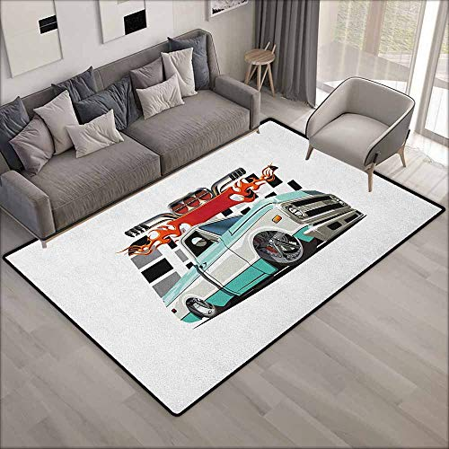 - Skid-Resistant Rug,Truck Lowrider Pickup with Racing Flag Pattern Background Speeding on The Streets Modified,Children Crawling Bedroom Rug,5'3