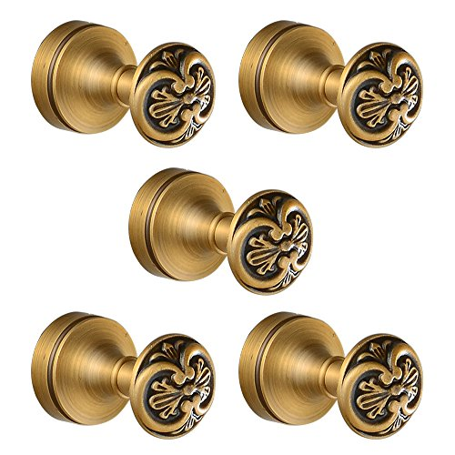 Leyden TM 5 Pcs Bathroom Accessories Antique Brass Wall Mounted Hangers Hardware Coat Hooks Hanging Clothes Hat