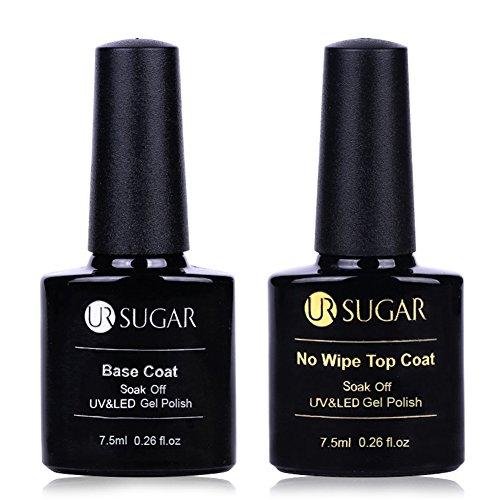 CoulorButtons 2 Bottles 7.5ml UR SUGAR Base Coat No Wipe Top Coat Soak Off for UV LED Nail Art Gel Polish -