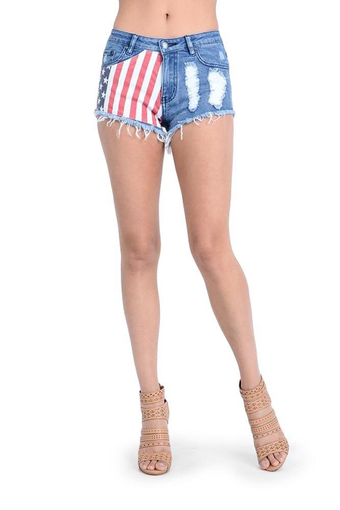 G-Style USA Women's American Flag Denim Shorts - Blue-Half - 2X-Large - S13H