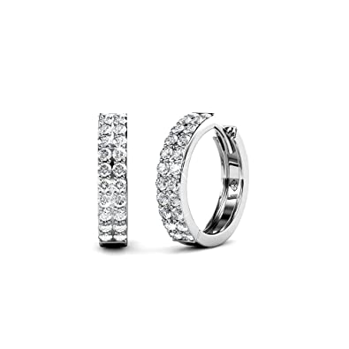 104f64649d579 Cate & Chloe Alice Graceful 18k White Gold Plated Hoop Earrings w/Swarovski  Crystals,
