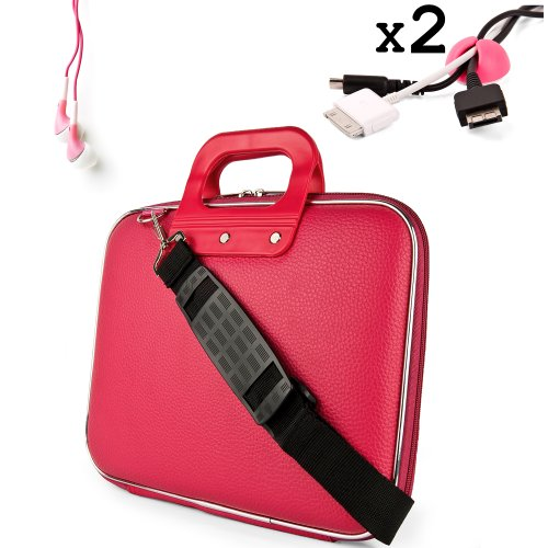 Uniquely designed SumacLife Brand Pink Ultra Durable Reinforced 12 Inch Cady Hard Shell Sports Bag for all models of the HP Envy x2 11.6-Inch Convertible Tablet Laptop (HP Envy x2 Series tablet, 11-g010nr, 11t-g000, Windows 8 Convertable Tablet Laptop) + 2 Cable Holder Organizers + Earphones