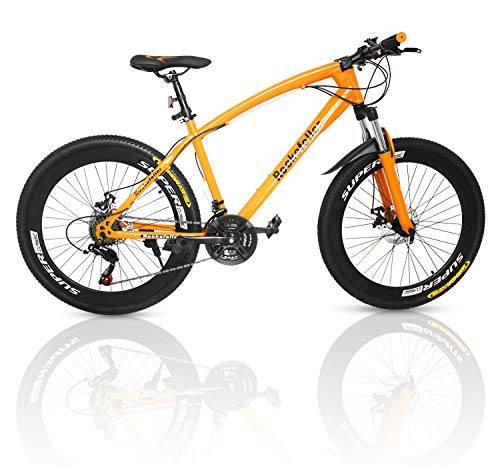 Outroad Mountain Bike 21 Speed 700CC Double Disc Brake Suspension Springer Fork (Orange,26 in)