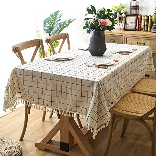 - Vamay Stitching Tassel Tablecloth Gingham Checkered Cotton Linen Fabric White Table Cover for Kitchen Dinning Banquet Holiday Dinner Picnic Camping (Rectangle, 55