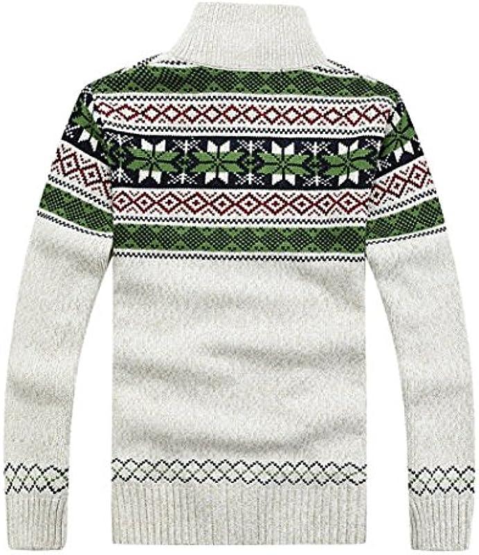 Kedera Lässige Męskie Dicker Strick Reißverschluss Cardigan Pullover mit Muster: Odzież
