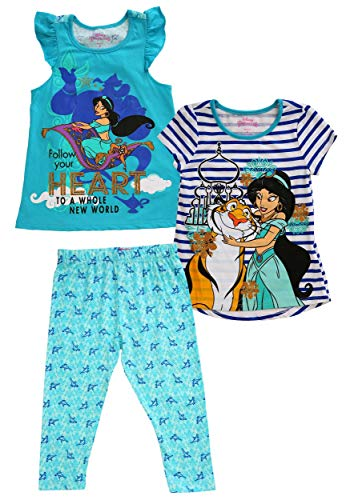 Disney Little Girls' 3 Piece Princess Jasmine Printed Legging Set, Aqua, 4]()