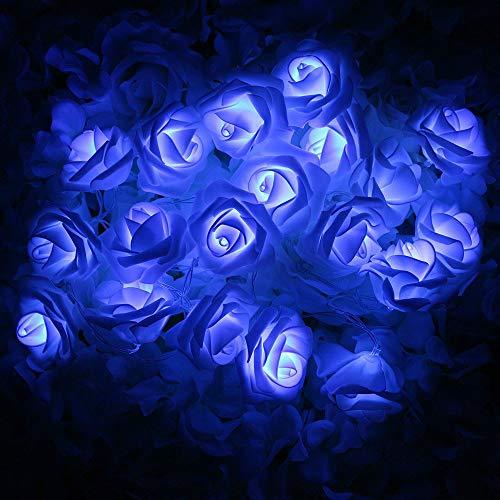 VIPMOON LED Rose Flower String Lights,2M 20LED Battery Operated String Romantic Flower Rose Fairy Light Lamp Outdoor for Valentines Day,Wedding,Room,Garden,Christmass,Patio,Festival Party Decor -Blue